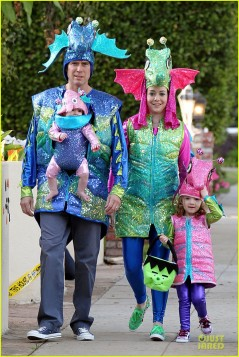 Alyson Hannigan and Alexis Denisof join in the Halloween fun as they dress up as seahorses with their daughters Satyana and Keeva, in Los Angeles